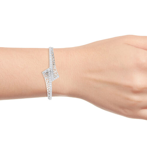 J Francis - Platinum Overlay Sterling Silver (Rnd) Bangle (Size 7.5) Made With SWAROVSKI ZIRCONIA, Silver wt 18.58 Gms