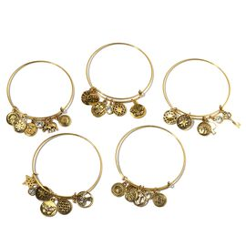 Set of 5- White Austrian Crystal (Rnd) Bangle with Multi Charms in Gold Bond.