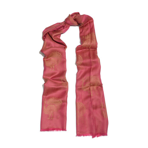 Red and Golden Colour Peacock Pattern Jacquard Scarf (Size 190x70 Cm)
