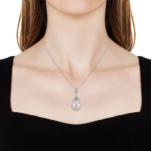 Super Auction - Haliotis Asinina Shell Pearl (Rnd 19mm to 21mm), Natural White Cambodian Zircon Pendant with Chain in Rhodium Plated Sterling Silver.