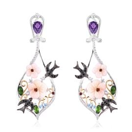 Jardin Collection - Pink Mother of Pearl, Amethyst and Multi Gemstone Bird and Flower Earrings in Pl