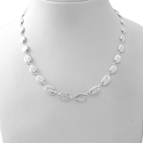 Designer Inspired- High Polished Sterling Silver Necklace (Size 18.5 with  2 inch Extender), Silver wt 25.00 Gms