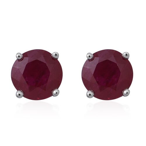 1.25 Ct AA Burmese Ruby Stud Earrings in 9K White Gold (with Push Back)