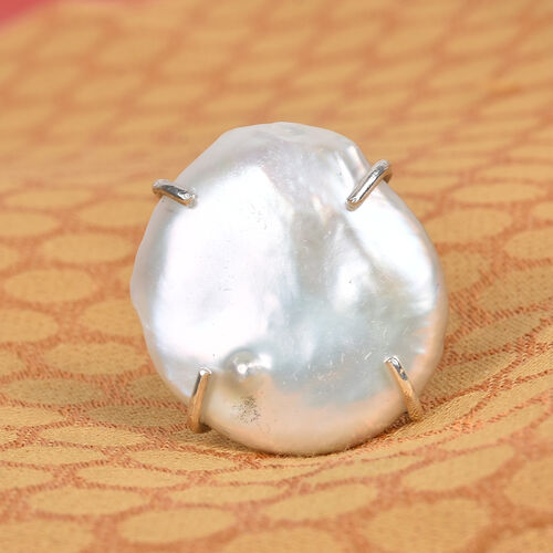 Baroque Pearl Ring in Platinum Overlay Sterling Silver