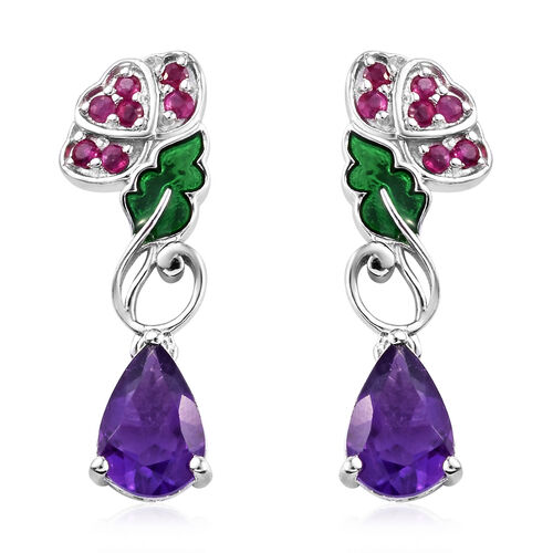 GP 3.86 Ct Amethyst with Multi Gemstones Drop Earrings in Sterling Silver 4.96 Grams With Push Back