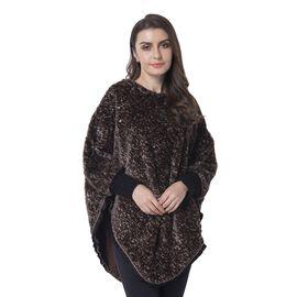 Brown Colour Faux Fur Poncho (Size 82x75 Cm)