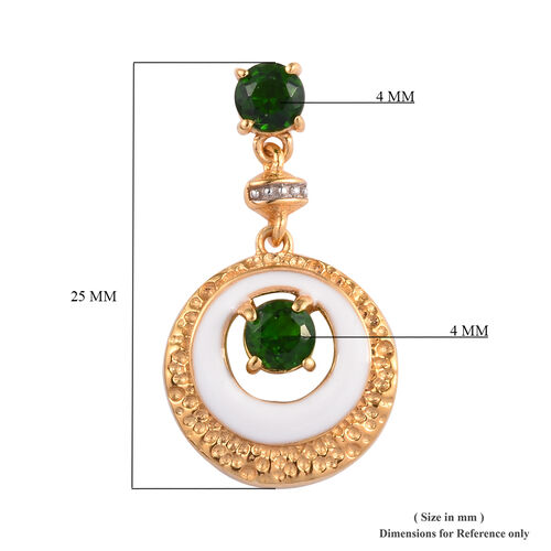 Russian Diopside Enamelled Earrings (with Push Back) in 14K Gold Overlay Sterling Silver 1.25 Ct, Silver wt 5.00 Gms