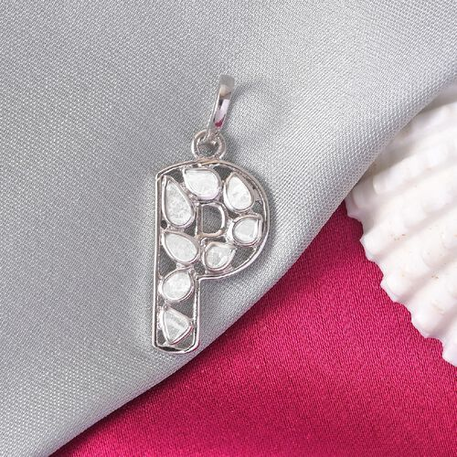 0.50 Ct. Artisan Crafted Polki Diamond Initial P Pendant in Platinum Overlay Sterling Silver