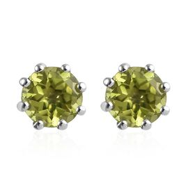 9K White Gold AA  Hebei Peridot (Rnd) Earrings (with Push Back) 1.000 Ct.