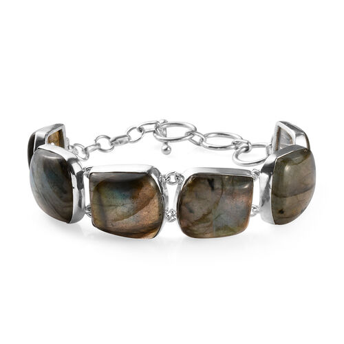 103.86 Ct Labradorite Bracelet in Silver 7.5 Inch with Extender