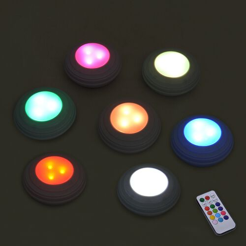Set of 4 Wireless LED Lights with 12 Colours and Remote Control