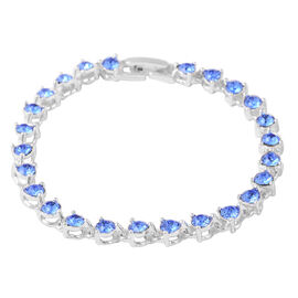 ETERNITY Crystal and Blue Crystal from Swarovski Bracelet in Silver Plated 7.5 Inch