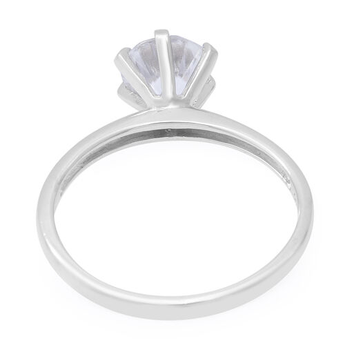 100% Natural Tanzanian White Zircon (Rnd 7.5mm) Solitaire Ring in Rhodium Overlay Sterling Silver 2.16 Ct.