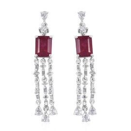 10.25 Ct African Ruby and Cambodian Zircon Drop Earrings in Sterling Silver 6.18 Grams