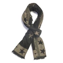 Super Luxurious Star Pattern Black Colour Blend Scarf (Size 70x185 Cm)