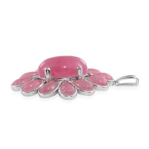 Pink Jade (Ovl) Pendant in Platinum Overlay Sterling Silver 28.750 Ct.