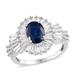 4.23 Ct AAA Kanchanaburi Blue Sapphire and Cambodian Zircon Halo Ring in 9K White Gold 3.15 Grams