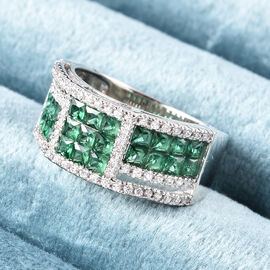 Lustro Stella - Simulated Emerald and Simulated Diamond Ring in Platinum Overlay Sterling Silver