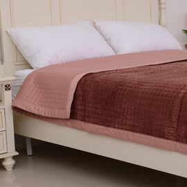 Micro Mink Reverse Matte Satin Quilt with Small Checker Quilting Pattern 240x260cm in Dusky Pink Col
