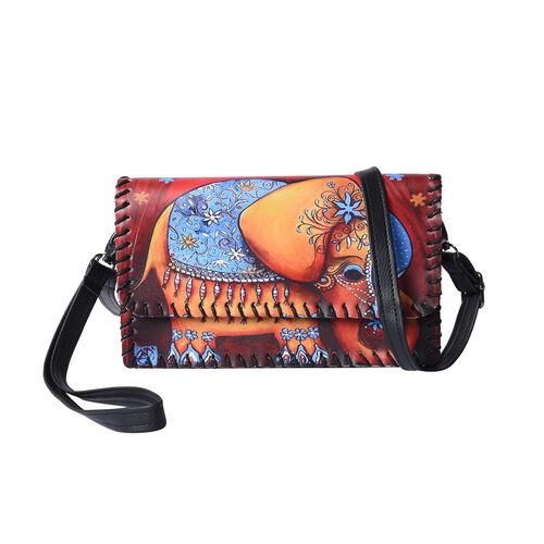 Elephant Pattern Crossbody Bag with Adjustable Shoulder Strap (Size  21x2x12cm) - Orange