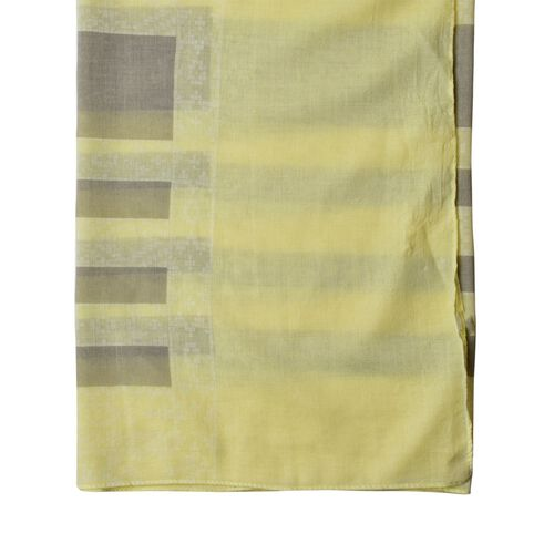 Close Out Deal Yellow and Grey Colour Stripes Pattern Pareo (Size 200X140 Cm)