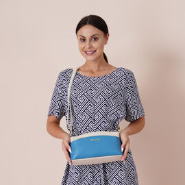 Womens Genuine Leather Crossbody Bag with Shoulder Strap - Blue and Off White