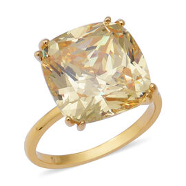 ELANZA Swiss Star Simulated Canary Diamond (Cush 15x15 mm) Ring in Yellow Gold Overlay Sterling Silv