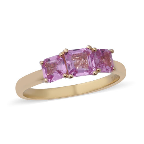 ILIANA 18K Yellow Gold AAA Pink Sapphire Trilogy Ring 1.76 Ct.