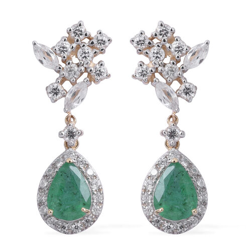 9K Yellow Gold AA Kagem Zambian Emerald (Pear), Natural White Cambodian Zircon Dangling Earrings (with Push Back) 3.250 Ct.