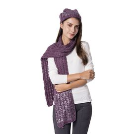 2 Piece Set - Purple and Silver Colour Hat (Size 23 Cm) and Scarf (Size 190x35 Cm)