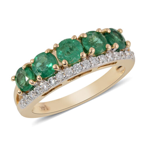 1.40 Ct AA Kagem Zambian Emerald and Diamond Band Ring in 14K Gold 3.80 Grams I1 GH