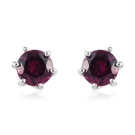 Purple Garnet (Rnd) Stud Earrings (with Push Back) in Platinum Overlay Sterling Silver 1.25 Ct.