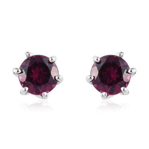 Purple Garnet (Rnd) Stud Earrings (with Push Back) in Platinum Overlay Sterling Silver 1.25 Ct.