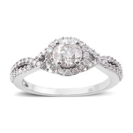 New York Close Out 1 Carat Diamond Cluster Ring in 14K White Gold SGL Certified I1 I2 GH