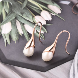 LucyQ Freshwater White Pearl Hook Earrings in Rose Gold Overlay Sterling Silver