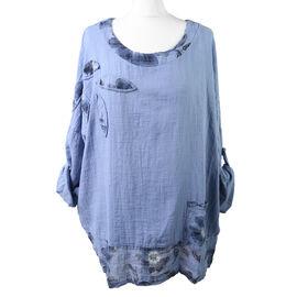 Sugar Crisp Floral Pattern Summer 100% Cotton Top with Pocket Detail in Denim Blue (Size up to 18)