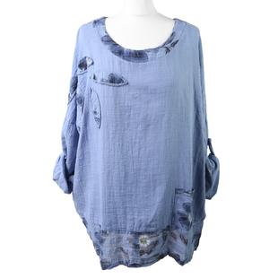 SUGARCRISP Floral Pattern Summer 100% Cotton Top with Pocket Detail in Denim Blue (Size up to 18)