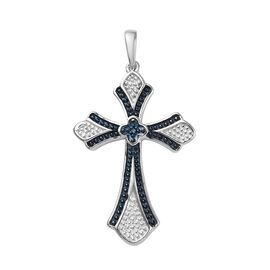 Blue Diamond Cross Pendant in Platinum and Blue Plated Sterling Silver