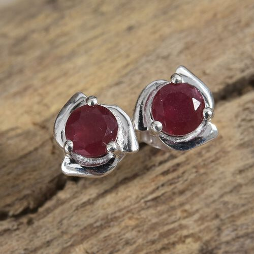 AA African Ruby (Rnd) Stud Earrings (with Push Back) in Sterling Silver 1.00 Ct.