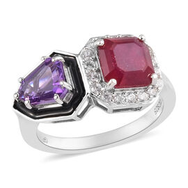 GP African Ruby (FF), Amethyst and Multi Gemstone Enamelled Ring in Platinum Overlay Sterling Silver