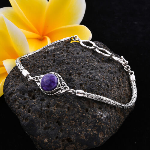 Royal Bali Collection - Russian Chaorite Tulang Naga Bracelet (Size 8 with Extender) in Sterling Silver 3.81 Ct, Silver wt 9.27 Gms
