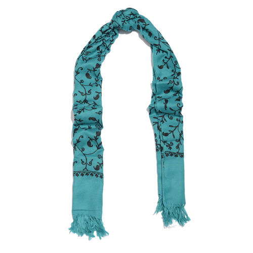 100% Merino Wool Turquoise and Black Colour Paisley and Leaves Embroidered Scarf with Tassels (Size 180X68 Cm)