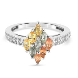 Rainbow Sapphire Cluster Ring in Platinum Overlay Sterling Silver 0.94 ct.