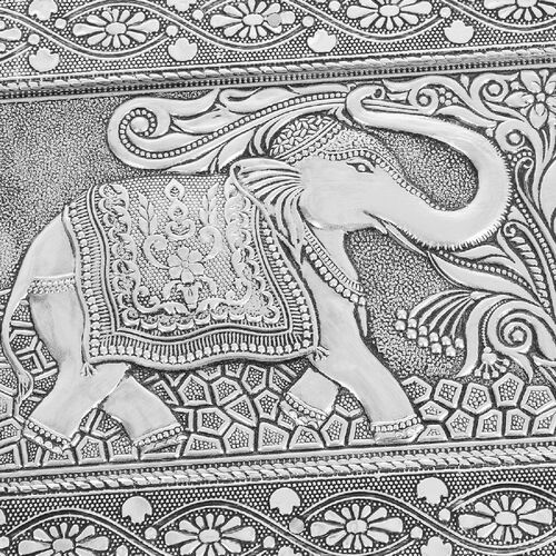 3D Embossed Collection Handcrafted Elephant Oxidised Jewellery Box (Size 23x17.7 Cm) with Blue Velvet Interior