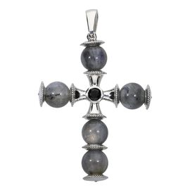 41.25 Ct Labradorite and Boi Ploi Black Spinel Cross Pendant in Platinum Plated