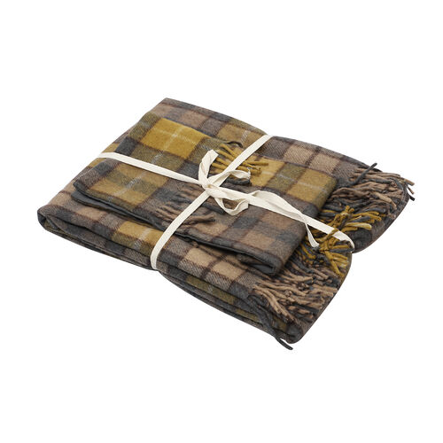 2 Piece Set - Checkered Pattern Wool Throw Blanket with Fringe (Size 135x170cm) and Cushion Cover wi