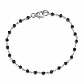 Boi Ploi Black Spinel (Rnd) Bracelet (Size 7.5) in Rhodium Overlay Sterling Silver 8.100 Ct.