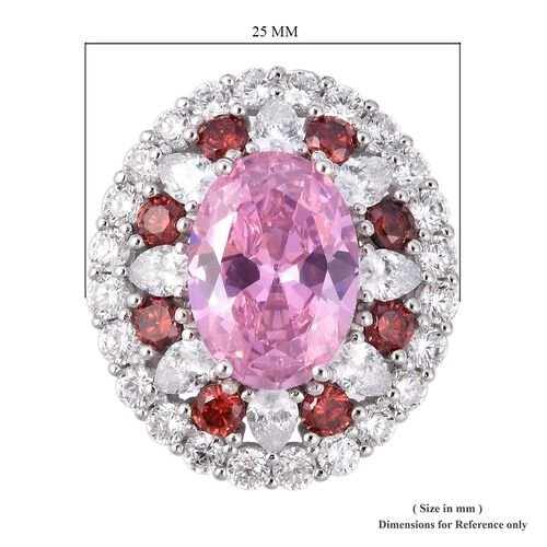 Lustro Stella Simulated Pink Sapphire (Ovl), Simulated Diamond and Simulated Red Garnet Ring in Rhodium Overlay Sterling Silver