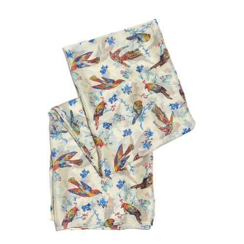100% Mulberry Silk Blue, White and Multi Colour Handscreen Flying Birds Printed Scarf (Size 200X180 Cm)