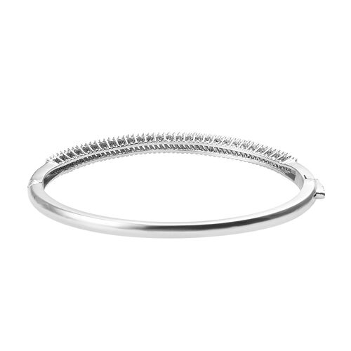 Diamond (Bgt) Bangle (Size 7.5) in Platinum Overlay Sterling Silver 1.505 Ct, Silver wt 15.10 Gms